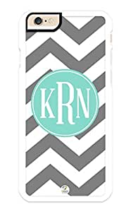 iZERCASE iPhone 6 Case Monogram Personalized Grey and White Chevron Pattern with Turquoise Circle RUBBER CASE - Fits iPhone 6 T-Mobile, AT&T, Sprint, Verizon and International (White)