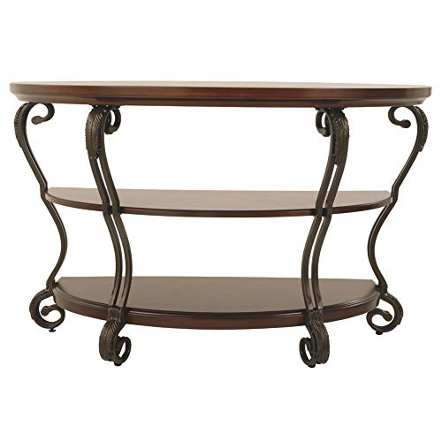 Ashley Furniture Signature Design - Nestor Sofa Table - 2 Shelf - Semi Circle - Medium Brown (Table Foyer Metal)