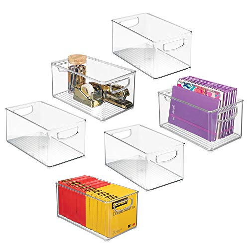 mDesign Stackable Plastic Storage Bin Container, Home Office Desk and Drawer Organizer Tote with Handles for Storing Gel Pens, Erasers, Tape, Pens, Pencils, Markers - 6 Pack, 10