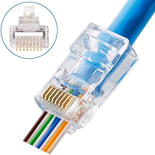 CAT6 Connectors RJ45 Pass Through Connectors 50pcs 3 Prong Ethernet Gold Plated Network Ends Plug Cable Connectors for CAT6 CAT5E Cable Option: 50pcs and 100pcs