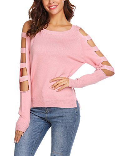 Elover Women's Peep Shouler Crew Neck Long Sleeve Wool Cashmere Cut Out Chic Sweater Pink (Pink Cashmere Crewneck Sweater)