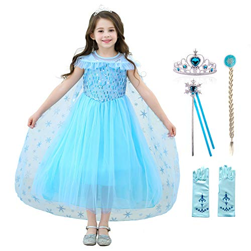 Tussclevogue Princess Anna Dress Cosplay Snow Queen Princess Dresses for Girls! (Age:3-4 Years Height ()