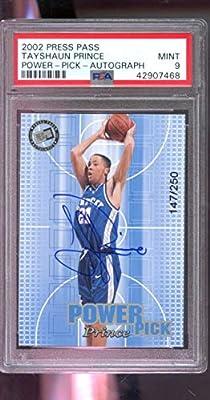 2002-03 Press Pass Power Pick Tayshaun Prince Kentucky 147/250 ROOKIE RC Signed AUTO Autograph MINT PSA 9 Graded NBA Basketball Card