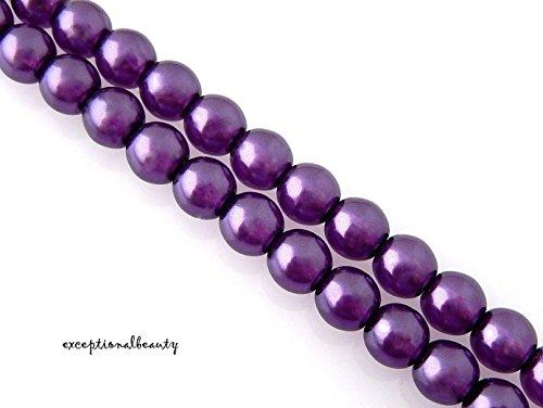 - 60 Exquisite Cultura Preciosa Czech Pearls Dark Amethyst 6mm Crystal Pearl Beads