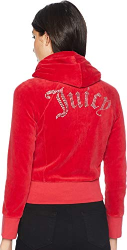 Juicy Couture Logo Velour - Juicy Couture Black Label Women's Cropped Velour Jacket with Gothic Logo, Astor red, M