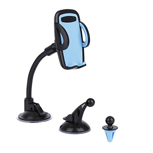 LESHP 3-in-1 Universal Car Phone Mount Phone Holder Cell Phone Car Air Vent Holder Dashboard Mount Windshield Mount for iPhone 6 6S SE Plus and More (Blue)