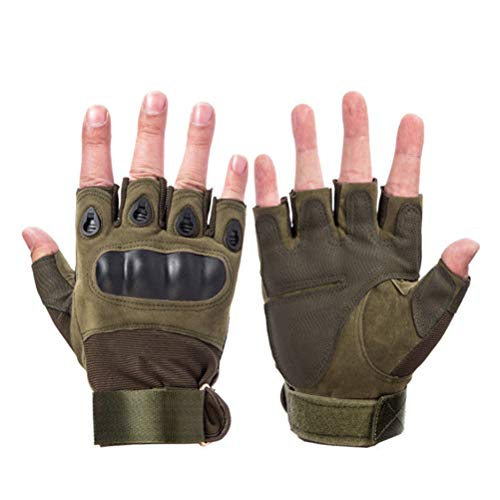 Wareken Tactical Hard Knuckle Half Finger Gloves Men's Army Military Combat Hunting Shooting Airsoft Paintball Police Duty Fingerless