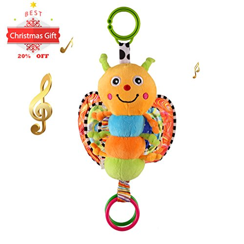 Car Seat Toy with Sweet Music, Cozime Stroller Baby Activity Bed Hanging Toys (Butterfly)