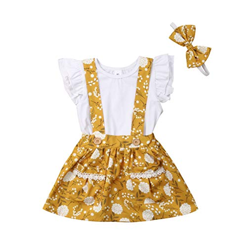Infant Toddler Baby Girl 2PCs Ruffle Top Shirt Floral Suspender Skirt Bowknot Headband Clothes Outfit Set (2-3T, White&Yellow) -
