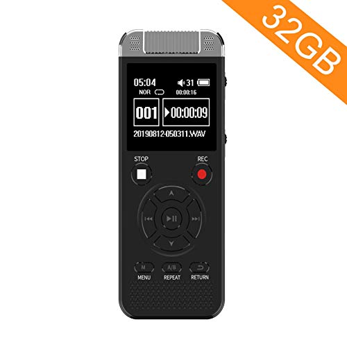 32GB Digital Voice Recorder, Homder Voice Activated Recorder for Lectures Meetings Class, 1536kbps Stereo HD-Audio Recording Device with Playback - Rechargeable Dictaphone - Black