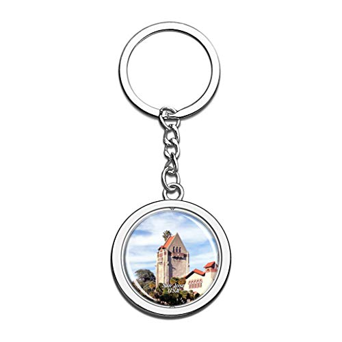 Hqiyaols Keychain USA America San Jose State University Souvenirs Crystal Spinning Round Stainless Steel Key Chain Ring Travel City Gifts