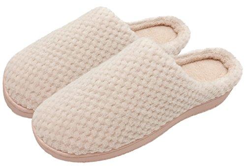 a9f6c5c37a6f Finoceans Bedroom Slippers Womens Coral Fleece Memory Foam Shoes Pink