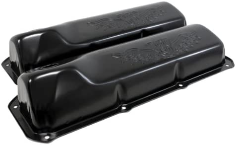 1969-82 Compatible with//Replacement for Ford Small Block 351C-351M-400M-BOSS 302 Steel Valve Covers Black V8 Logo