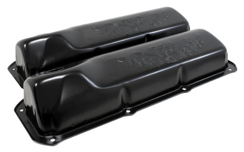 1969-82 Compatible with/Replacement for Ford Small Block 351C-351M-400M-BOSS 302 Steel Valve Covers - Black V8 Logo