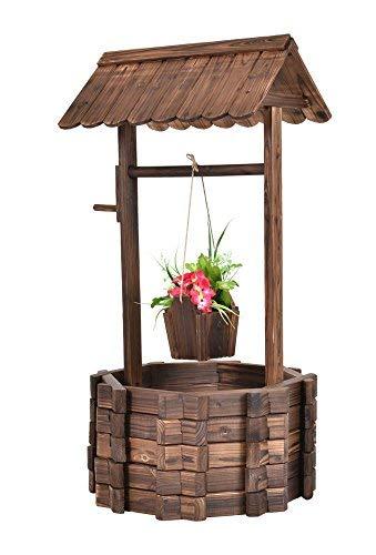 - Outdoor Wooden Wishing Well Bucket Flower Plants Planter Patio Garden Home Decor