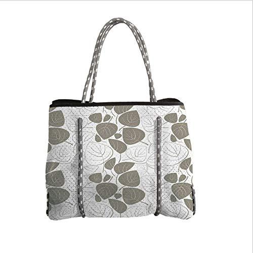 Neoprene Multipurpose Beach Bag Tote Bags,Leaves,Leaves Pattern Outline Silhouette Ornament Floral Design Victorian Style Art Decorative,Gray White,Women Casual Handbag Tote Bags ()