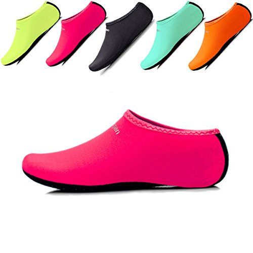 JIASUQI Kids Athletic Water Skin Shoes Aqua Socks For Pool Swimming Rose Red US 12.5-1 M Little Kid