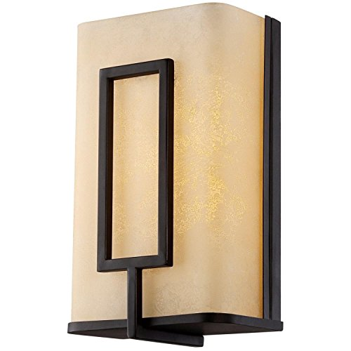 LB74121 LED Wall Sconce, Oil Rubbed Bronze with Amber Alabaster Glass, 10-Inch 3000K Warm White, 550 Lumens, ETL and ENERGY STAR Listed, Dimmable ()