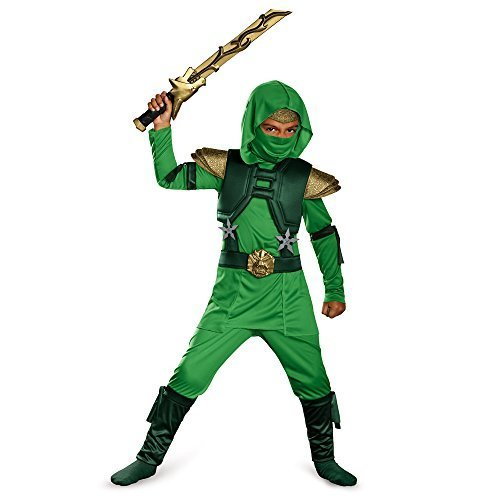 Disguise Shadow Ninja Green Master Ninja Deluxe Boys Costume, One Color, 7-8