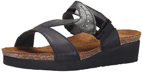 Naot - Sandalias de vestir para mujer - Brushed Black/Black Patent/Metallic Road