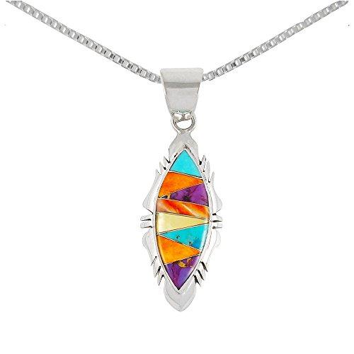 Multi Gemstone Pendant (Turquoise Necklace 925 Sterling Silver & Genuine Turquoise & Gemstones Pendant)