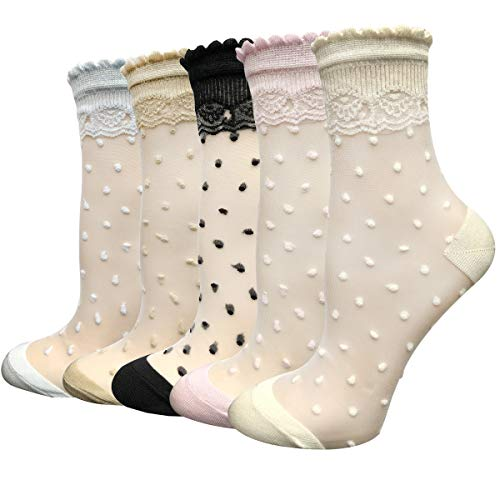 5 Pairs Ultra Thin Summer Socks Women Transparent Lace Elastic Silk Stockings Cityelf Sheer Short Anklets (ONE SIZE FITS ALL, polka dot)