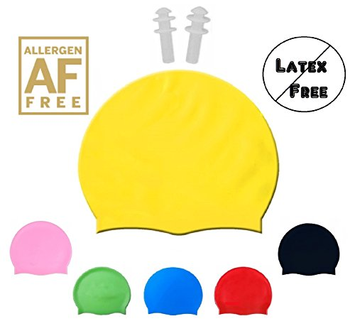 Shvim Silicone Swim Cap - Allergy Free - Comfortable Fit Great for Long Hair and Short Hair - For Adults and Kids - Premium Thick Anti Rip Material - Includes Free Gift a Pair of Ear Plugs...