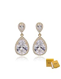 Wedding Earring for Bride Gold - Elegant Sterling Silver Teardrop CZ Cubic Zirconia Crystal Rhinestone Dangle Earrings for Bridesmaids Mother of Bride Gift