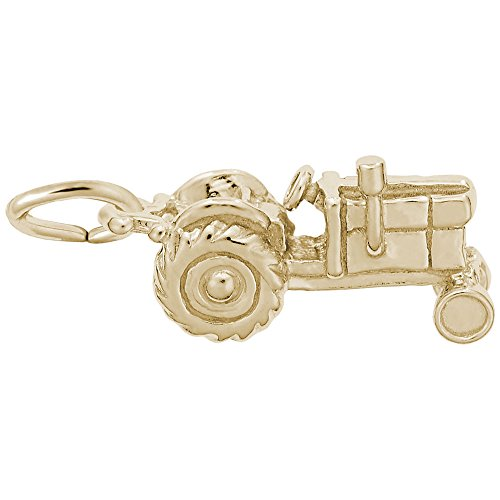 Gold Plated Tractor Charm, Charms for Bracelets and Necklaces