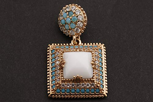 Turkish Handmade Jewelry Square Shape White Onyx and Round Cut Turquoise Topaz 925 Sterling Silver Pendant