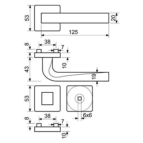 B/ürot/üren Profilzylinder Rosetten-Garnitur ROMA in schwarz matt f/ür Innent/üren