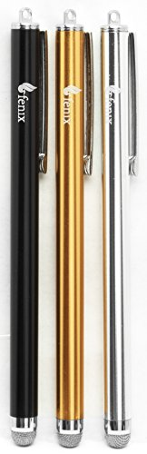 (Fenix - Set of 3 Black, Silver, Gold [Stylus Pen with Micro Knit Hybrid Fiber Tip for iPhone 4/5/5c/6/6+, iPad/iPad Air/iPad Mini, Samsung Galaxy S4/S5/S6/Edge, Kindle Fire, Surface Pro and More)