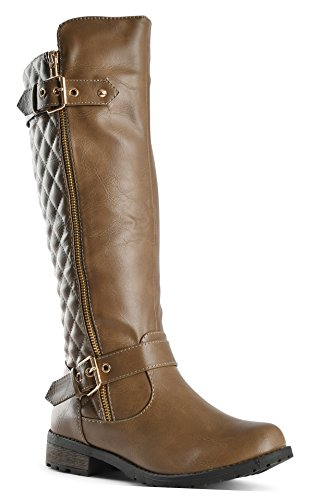 Forever Mango-21 Women's Winkle Back Shaft Side Zip Knee High Flat Riding Boots Taupe 8