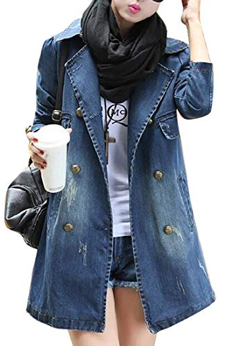 MK988 Women Washed Casual Slim Brass Button Fringes Denim Jacket Jean Trench Coat Denim Blue L ()
