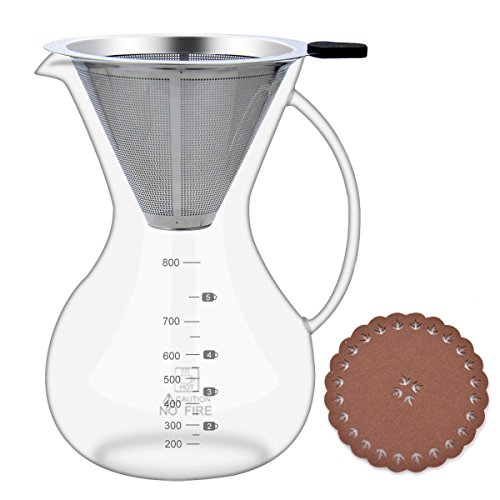 Pour Over Coffee Maker with Coffee Filter,Glass Carafe (28oz/800ml) with Coffee Dripper,BPA-free Certificate Drip - 800 1 Glasses