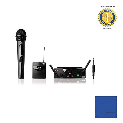 AKG WMS40 Mini Dual Vocal Handheld/Instrument Wireless Microphone System with Microfiber and 1 Year Everything Music Extended Warranty