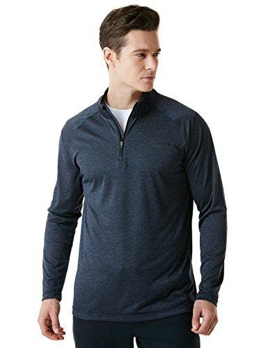 1/4 Zip Thermal (TSLA TM-MKZ02-SGY_Large Men's 1/4 Zip Cool Dry Active Sporty Shirt MKZ02)