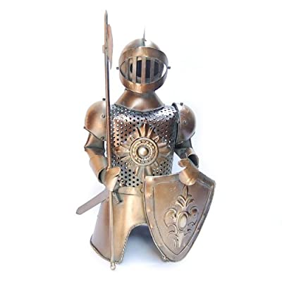 "Metal Medieval Knight Armor with Spear Axe and Shield Bottle Cover, Wine Holder, 13"" Tall"