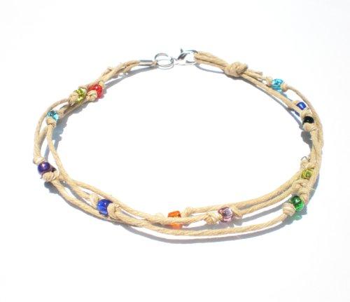 Multicolor Glass Beaded Three String Hemp Anklet – Handmade