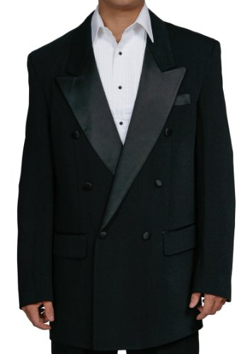 New Men's Black Double Breasted Tuxedo Suit with Jacket and ()