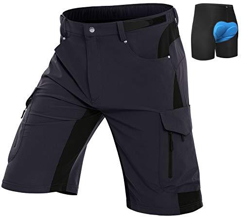 Vzteek Heren MTB broek fietsbroek met gewatteerd, sneldrogende MTB-shorts mountainbike broek heren