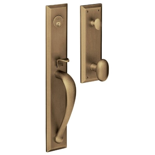 Baldwin 6403050ENTR Satin Brass and Black Images, Cody Cody Style Full Escutcheon Single Cylinder Handleset with Interior Oval Knob 6403.ENTR ()