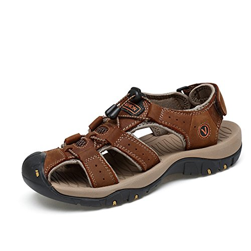 And Walking Beach Breathable Trail Coffee Shoes Fashion Outdoors Toe Sports Mens Hiking Closed Sandals Leather Summer qWgOwCxCa7