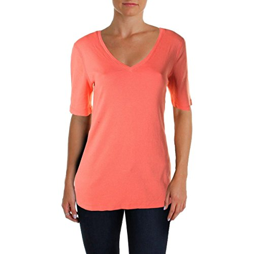 Three Dots Womens Elbow Sleeves V-Neck T-Shirt Pink S