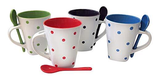 8 Piece Ceramic Deluxe 12oz. Coffee/Tea Mug Set - Dots
