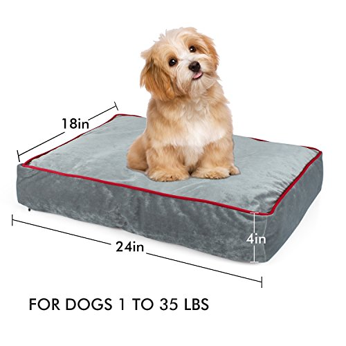 Memory Foam Pet Bed Ideal for Aging Dogs Eases Pain of Arthritis Hip Dysplasia Removable Machine Washable Cover, Waterproof 180 GSM Non-Slip Cover, for Home, Car, Outdoors, Grey, 24Lx 18W X4H in.