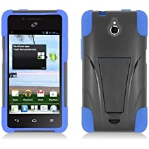 LF Blue Black Hybrid Dual Layer case with Stand, Lf Stylus Pen and Wiper For TracFone, StraightTalk, Net 10 Huawei Ascend Plus H881C