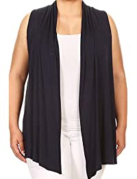 BNY Corner Women Plus Size Sleeveless Cardigan Open Front Casual Vest Cover up