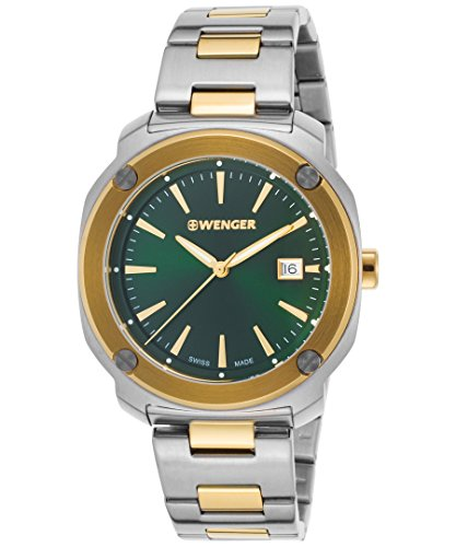 Wenger 01-1141-117 Men's Edge Index Ss And Gold-Tone Ss Green Dial Watch