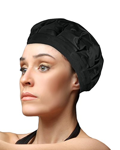 Cordless Deep Conditioning Heat Cap Hair Styling And Treatment Steam Cap Heat Therapy And Thermal Spa Hair Steamer Gel Cap Black